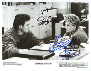 GLEAMING THE CUBE MOVIE CAST - AUTOGRAPHED SIGNED PHOTOGRAPH CO-SIGNED BY: CHRISTIAN SLATER, STEVEN BAUER
