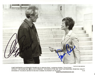 TRUE CRIME MOVIE CAST - AUTOGRAPHED SIGNED PHOTOGRAPH CO-SIGNED BY: CLINT EASTWOOD, FRANCES FISHER