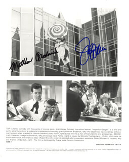 INSPECTOR GADGET MOVIE CAST - PRINTED PHOTOGRAPH SIGNED IN INK CO-SIGNED BY: MATTHEW BRODERICK, JOELY FISHER
