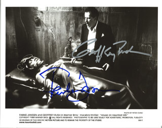 HOUSE ON HAUNTED HILL MOVIE CAST - AUTOGRAPHED SIGNED PHOTOGRAPH CO-SIGNED BY: GEOFFREY RUSH, FAMKE JANSSEN