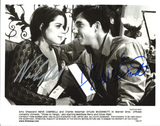 THREE TO TANGO MOVIE CAST - AUTOGRAPHED SIGNED PHOTOGRAPH CO-SIGNED BY: NEVE CAMPBELL, DYLAN MCDERMOTT
