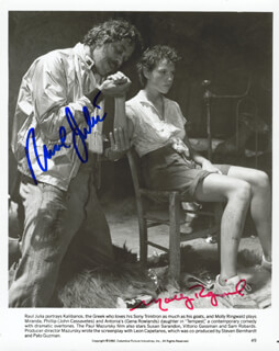TEMPEST MOVIE CAST - AUTOGRAPHED SIGNED PHOTOGRAPH CO-SIGNED BY: RAUL JULIA, MOLLY RINGWALD