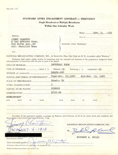 JIMMY CLANTON - DOCUMENT SIGNED 11/09/1960
