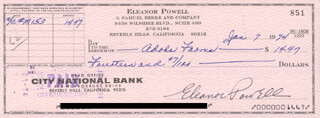 ELEANOR POWELL - AUTOGRAPHED SIGNED CHECK 01/07/1974