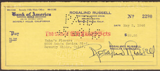 Autographs: ROSALIND RUSSELL - CHECK SIGNED 05/03/1946