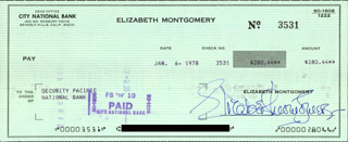 ELIZABETH MONTGOMERY - AUTOGRAPHED SIGNED CHECK 01/06/1978