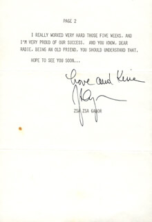 ZSA ZSA GABOR - TYPED LETTER SIGNED 09/06/1973