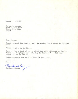 MACDONALD CAREY - TYPED LETTER SIGNED 01/16/1985