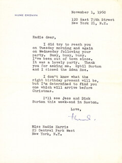 HUME CRONYN - TYPED LETTER SIGNED 11/01/1960