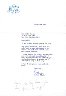 KATHRYN GRANT CROSBY - TYPED LETTER SIGNED 01/14/1976