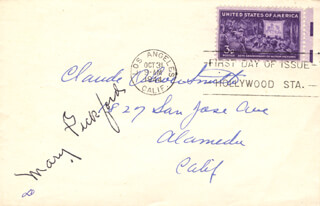 MARY PICKFORD - FIRST DAY COVER SIGNED