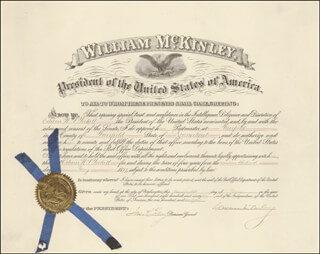 Autographs: PRESIDENT WILLIAM McKINLEY - CIVIL APPOINTMENT SIGNED 05/28/1897 CO-SIGNED BY: JAMES A. GARY