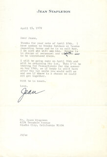 JEAN STAPLETON - TYPED LETTER SIGNED 04/15/1978