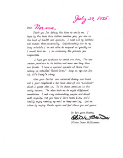 OLIVIA BROWN - TYPED LETTER SIGNED 07/29/1985
