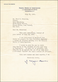 J. EDGAR HOOVER - TYPED LETTER SIGNED 07/25/1935  - HFSID 27281