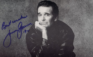 JAMES GARNER - PICTURE POST CARD SIGNED 1992