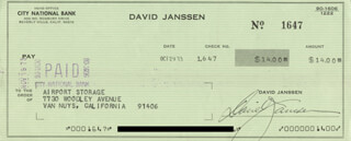 DAVID JANSSEN - AUTOGRAPHED SIGNED CHECK 10/29/1973