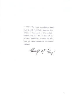 PRESIDENT GERALD R. FORD - PRESIDENTIAL OATH SIGNED