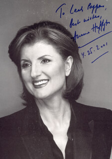 ARIANNA HUFFINGTON - AUTOGRAPHED INSCRIBED PHOTOGRAPH 04/25/2001