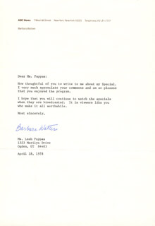 BARBARA WALTERS - TYPED LETTER SIGNED 04/18/1978