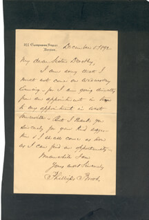 PHILLIPS BROOKS - AUTOGRAPH LETTER SIGNED 12/05/1892
