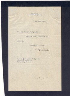 BOOTH TARKINGTON - TYPED LETTER SIGNED 06/26/1922