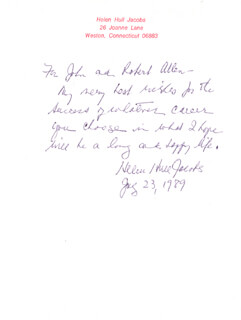 HELEN HULL JACOBS - AUTOGRAPH LETTER SIGNED 07/23/1989