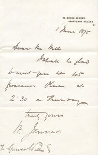 WILLIAM 1ST BARONET JENNER - AUTOGRAPH LETTER SIGNED 06/01/1875 CO-SIGNED BY: THOMAS SPENCER WELLS
