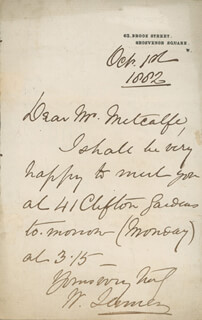 WILLIAM 1ST BARONET JENNER - AUTOGRAPH LETTER SIGNED 10/01/1882