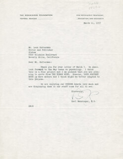 KARL A. MENNINGER - TYPED LETTER SIGNED 03/11/1957