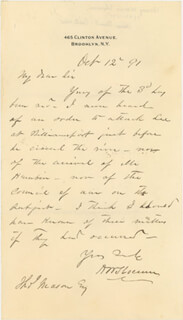 MAJOR GENERAL HENRY W. SLOCUM - AUTOGRAPH LETTER SIGNED 10/12/1891