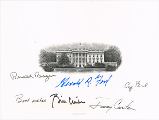 THE FIVE PRESIDENTS - WHITE HOUSE ENGRAVING SIGNED CO-SIGNED BY: PRESIDENT JAMES E. JIMMY CARTER, PRESIDENT WILLIAM J. BILL CLINTON, PRESIDENT RONALD REAGAN, PRESIDENT GEORGE H.W. BUSH, PRESIDENT GERALD R. FORD