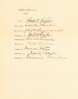 Autographs: CHARLES EVANS HUGHES COURT - SIGNATURE(S) 1937 CO-SIGNED BY: ASSOCIATE JUSTICE BENJAMIN N. CARDOZO, ASSOCIATE JUSTICE JAMES C. MCREYNOLDS, ASSOCIATE JUSTICE LOUIS D. BRANDEIS, ASSOCIATE JUSTICE GEORGE SUTHERLAND, ASSOCIATE JUSTICE WILLIS VAN DEVANTER, CHIEF JUSTICE CHARLES E HUGHES, ASSOCIATE JUSTICE PIERCE BUTLER, ASSOCIATE JUSTICE OWEN J. ROBERTS, CHIEF JUSTICE HARLAN F. STONE