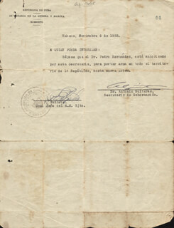 Autographs: PRESIDENT FULGENCIO BATISTA ZALDIVAR (CUBA) - DOCUMENT SIGNED 11/06/1933 CO-SIGNED BY: ANTONIO GUITERAS Y HOLMES