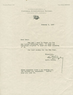 AUDIE MURPHY - TYPED LETTER SIGNED 01/05/1957