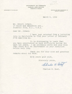 CHARLES H. BEST - TYPED LETTER SIGNED 03/04/1964