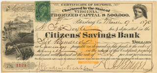 Autographs: BRIGADIER GENERAL DAVID A. WEISIGER - PROMISSORY NOTE SIGNED 03/09/1870