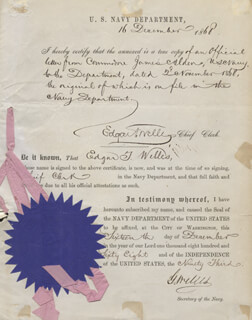 GIDEON WELLES - DOCUMENT SIGNED 12/16/1868 CO-SIGNED BY: EDGAR T. WELLES