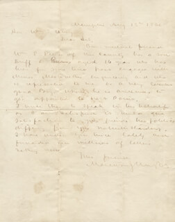 BRIGADIER GENERAL MARCUS J. WRIGHT - AUTOGRAPH LETTER SIGNED 08/13/1860