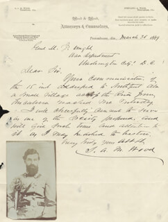 BRIGADIER GENERAL STERLING A. M. WOOD - AUTOGRAPH LETTER SIGNED 03/30/1889