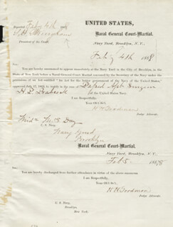 Autographs: REAR ADMIRAL SILAS HORTON STRINGHAM - DOCUMENT SIGNED 02/04/1868 CO-SIGNED BY: H. H. GOODMAN