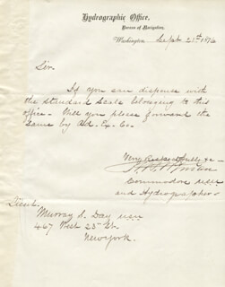 REAR ADMIRAL ROBERT WYMAN - MANUSCRIPT LETTER SIGNED 09/21/1876