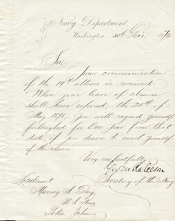 GEORGE M. ROBESON - MANUSCRIPT DOCUMENT SIGNED 12/30/1874