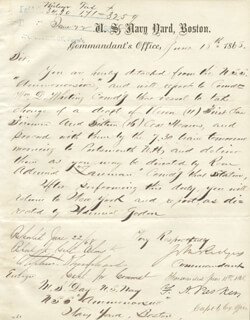 ADMIRAL JOHN RODGERS JR. - MANUSCRIPT DOCUMENT SIGNED 06/18/1868 CO-SIGNED BY: ADMIRAL JOSEPH LANMAN, COMMODORE FOXHALL ALEXANDER PARKER, COMMODORE WILLIAM DANFORTH WHITING, REAR ADMIRAL STEPHEN DECATUR TRENCHARD