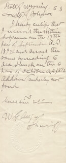 Autographs: WILLIAM GALISPIE RED ANGUS - AUTOGRAPH DOCUMENT SIGNED CIRCA 1892