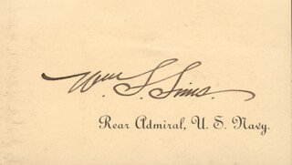 ADMIRAL WILLIAM S. SIMS - CALLING CARD SIGNED