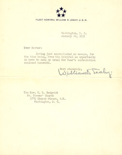 Autographs: ADMIRAL WILLIAM D. LEAHY - TYPED LETTER SIGNED 01/26/1953