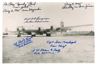 Autographs: ATOMIC BOMB MISSIONS - PHOTOGRAPH SIGNED CO-SIGNED BY: RAY SPEEDY BIEL, NAT T. R. BURGWYN, GLEN MAHUGH