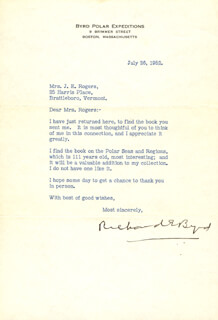 REAR ADMIRAL RICHARD E. BYRD - TYPED LETTER SIGNED 07/26/1952