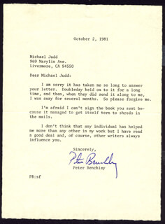 PETER BENCHLEY - TYPED LETTER SIGNED 10/02/1981